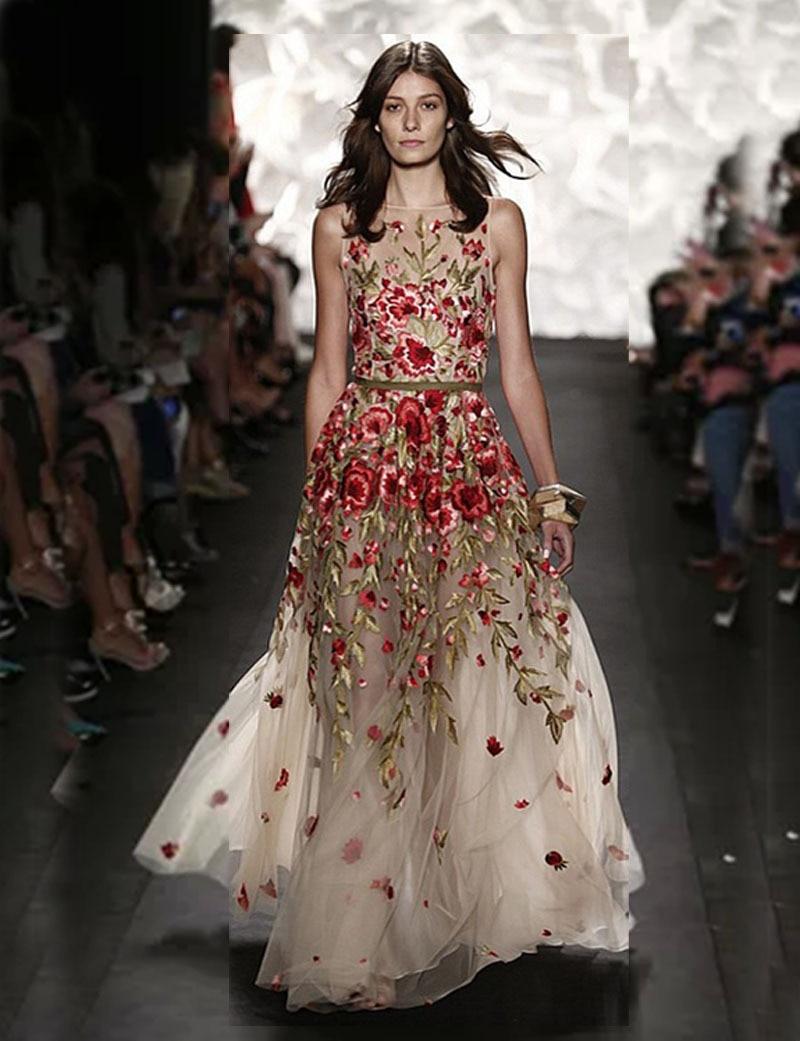 Rose Embroidery Dresses 2015 O Neck A Line Ceremony Dress Long ...