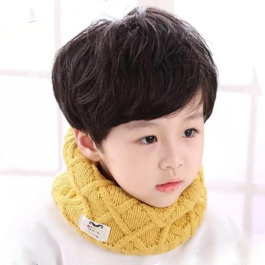 Cotton Winter Child Scarf Children Girls Boys Knitted Wool O-Scarves Kids Solid Neck Braga Gaiter Warm Children's LIC Ring Snood
