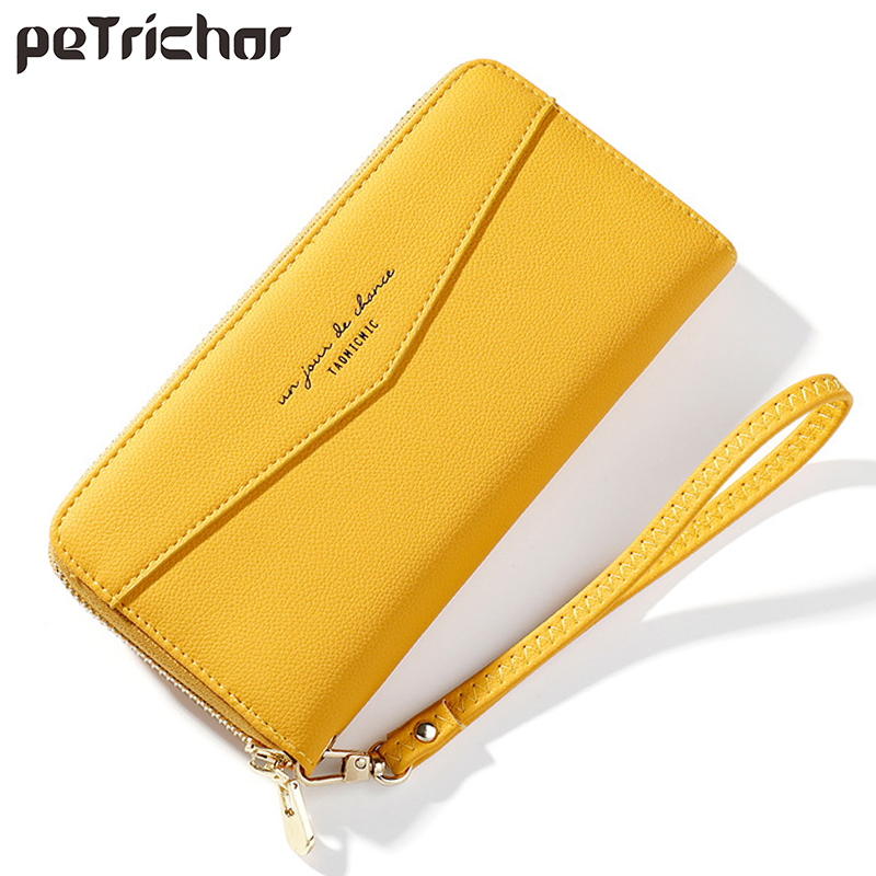 New Wristband Long Clutch Wallets Women Soft PU Leather Yellow Wallet Female Zipper Coin Purses Ladies Card Holder Phone Cartera