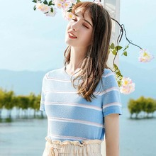 AcFirst Summer Women Tops Casual Blue T-shirts Knitting Shirt O-Neck Short Plus Size T Cotton Sexy Tees Striped