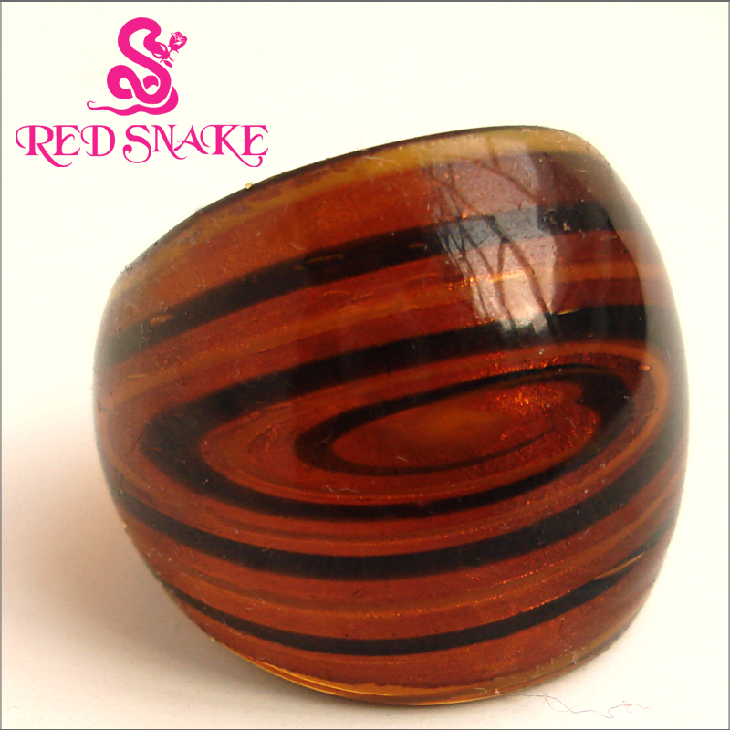 RED SNAKE Fashion Ring Handmade Brown color with black Galactic band Murano Glass Rings