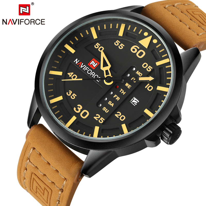 NAVIFORCE Original Luxury Brand Army Military Quartz Watches Men Hour Clock Sports Leather Wristwatch Relogio Masculino