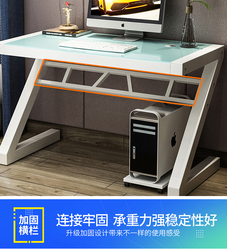 Tempered glass computer desk with bookshelf simple modern desktop home bedroom desk bookshelf combination desk desktop home economy modern computer simple desk