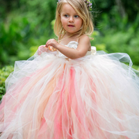 Gorgeous Ivory Blush Coral Flower Wedding Girl Evening Dress With Ivory Peals Flower Tutu Dress For
