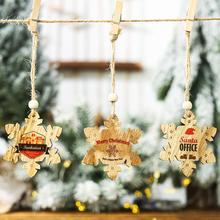 10PCS Christmas Snowflakes Wooden English Letters Pendants For Xmas Tree Ornament Party Decorations Kids Gift Tag