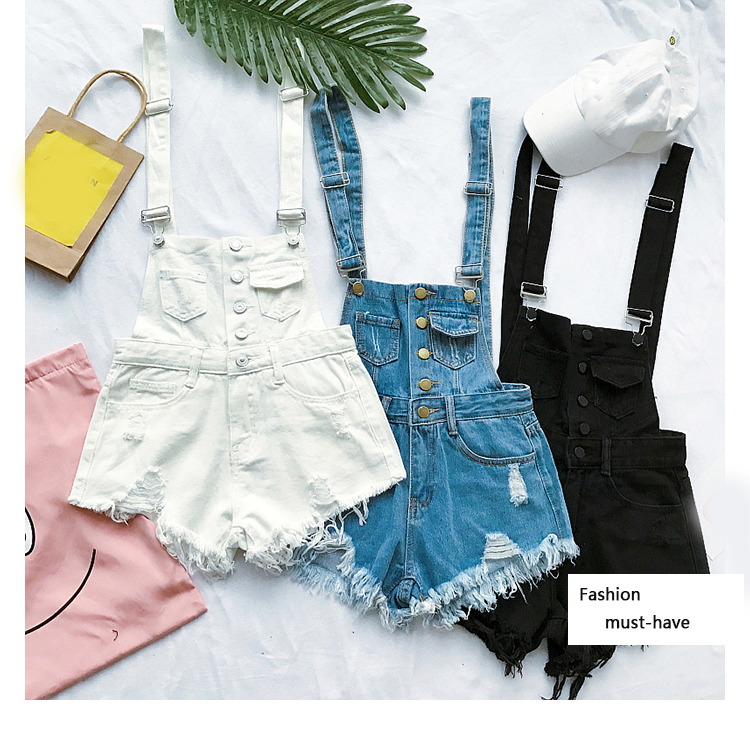 New style college wind cowboys back to wear shorts women summer holes loose Korean version of students show thin suspenders pants (2)