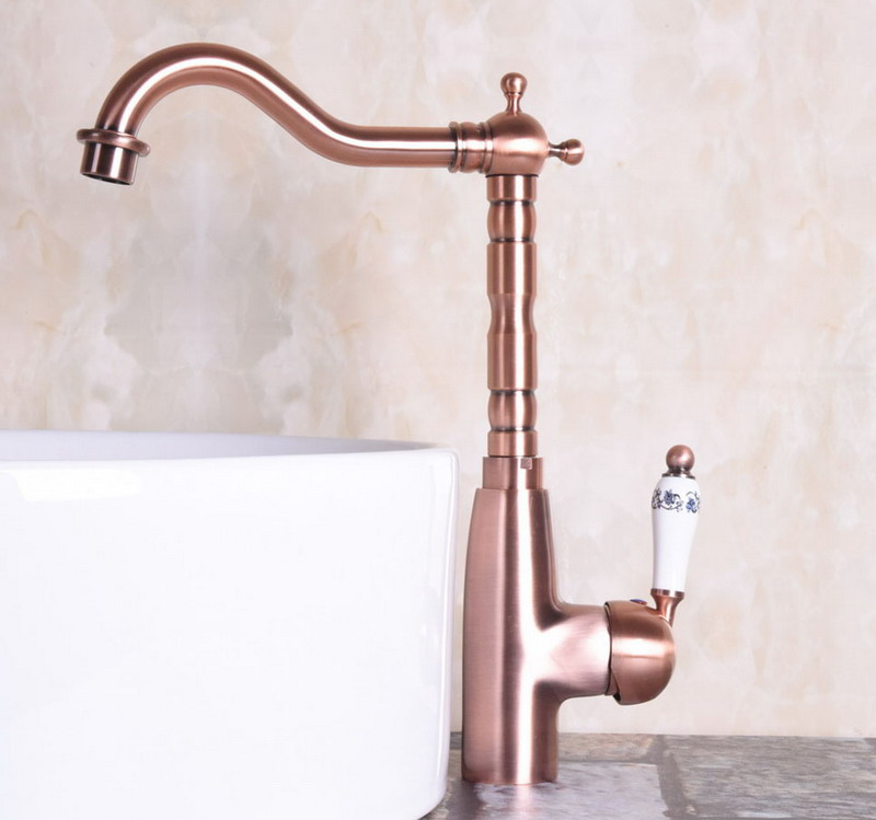 Antique Red Copper Brass Single Ceramic Handle Bathroom Kitchen Basin Sink Faucet Mixer Tap Swivel Spout Deck Mounted Mnf132