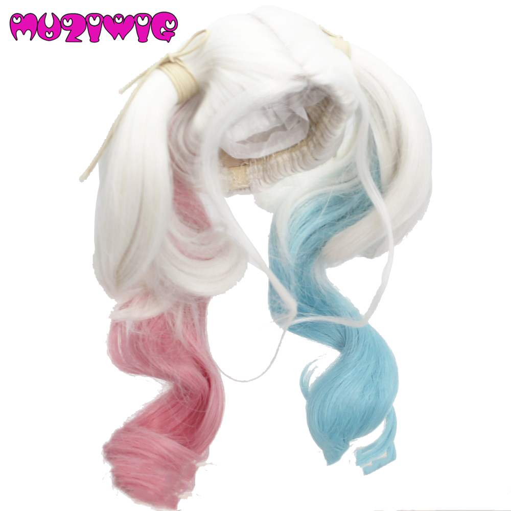 10-11 Custom  Cheerleader Doll Wig  With two ponytail made for AG 18 American  Dolls White/Blue/Pink  10-11 Custom  Cheerleader Doll Wig  With two ponytail made for AG 18 American  Dolls White/Blue/Pink
