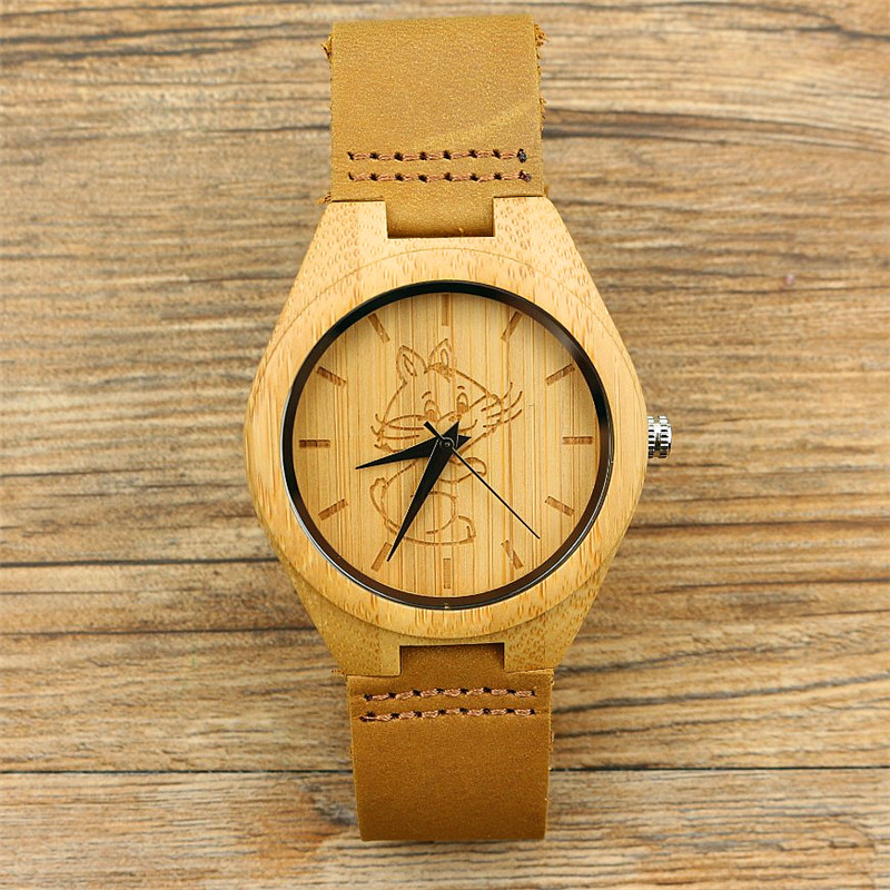 Promotion Chinese Style Handmade Nature Bamboo Watch Women And Men Animals Cat Dial Simple Casual Genuine Leather Unisex Clock
