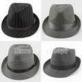 Autumn Casual Striped Men's Fedora Hats Style Chapeu Masculino Panama Jazz Gangster Caps Free Shipping CBDB-002