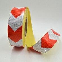 5 см x 10 м маленькие блестящие квадратный Relf самоклеющиеся Светоотражающая сигнальная лента с красный, белый цветная стрела печать для автомобилей и мотоциклов