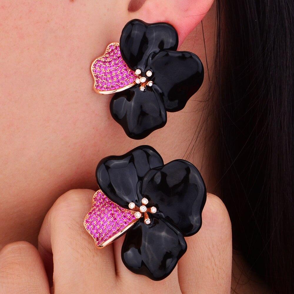 GODKI Begonia Flowers Design Fashion Luxury Super Shiny AAA Cubic Zirconia Women Engagement Earring And Ring Jewelry Set