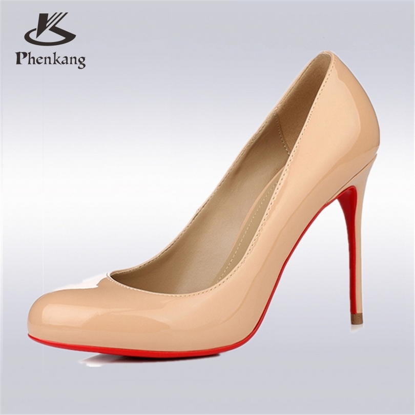 Phenkang women new small round head <font><b>nude</b></font> pink female wedding high heels OL professional women's pumps red shoes US <font><b>size</b></font> <font><b>8</b></font>