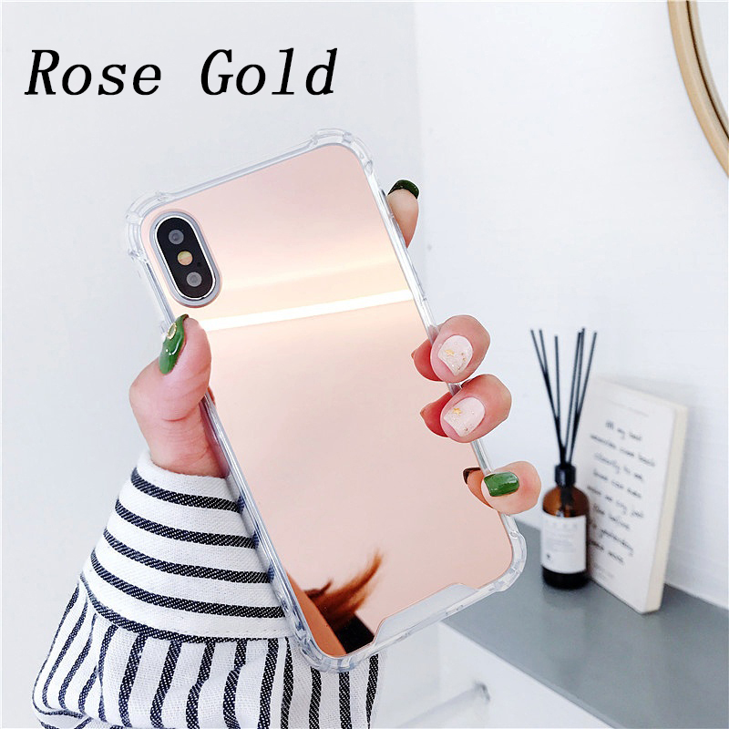 TPU Silicone Anti-fall Protect Case for iPhone X 7 8 Plus Cover Fashion Mirror Phone Back Cases