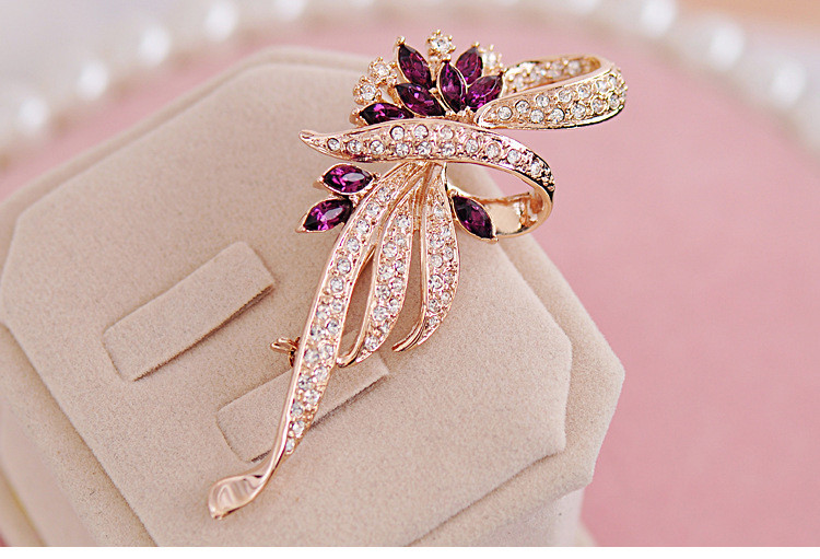 SHUANGR Luxury Crystal Flower Brooch Lapel Pin Rhinestone Jewelry Women Wedding Hijab Pins Large Brooches For Women brooches 6