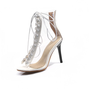Image 3 - Женские Прозрачные ботинки MORAZORA, черные ботинки гладиаторы с открытым носком, на тонком высоком каблуке, ботильоны для женщин, лето 2019