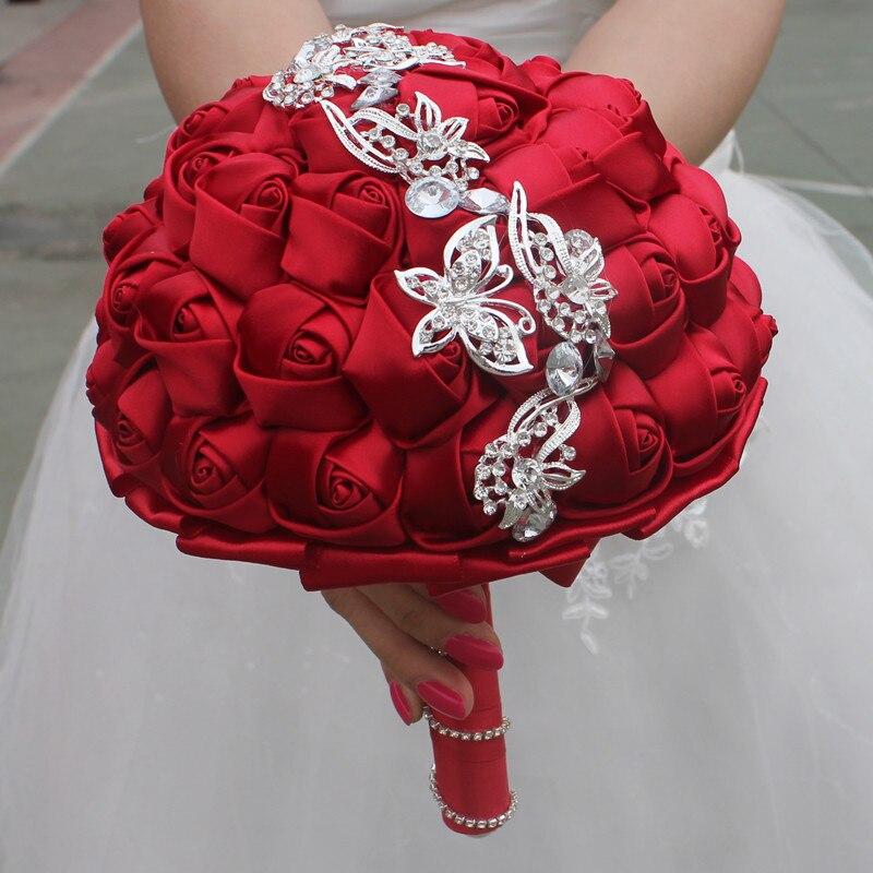 Image 4 - Wifelai um 1pc vinho vermelho seda rosa borboleta diamantes  broche casamento bouquet nupcial mariage flor ponto bouquet de casamento  w2216wedding bouquet bridalwedding bouquetbouquet bridal -