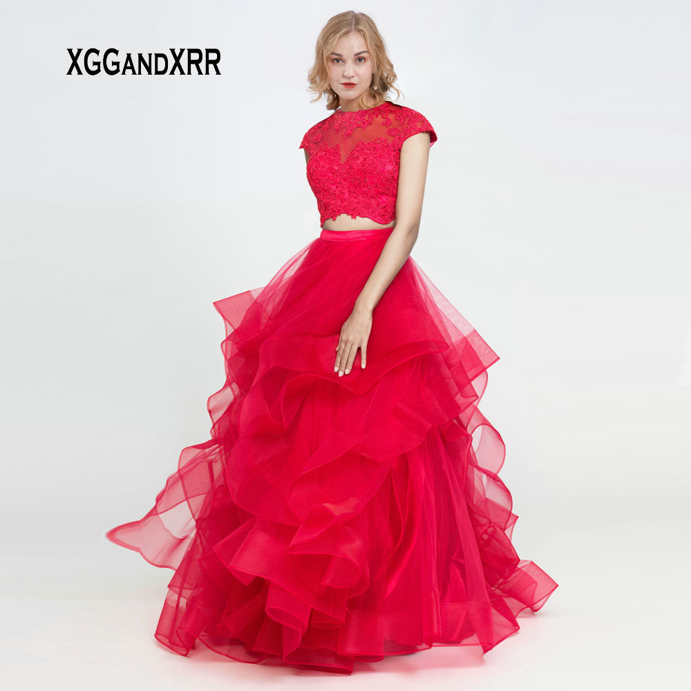 Elegant Red Two Pieces Long   Prom     Dresses   2019 Appliques Beaded Sleeveless Formal Party Gown Girl Gala Evening Gown Hollow Back
