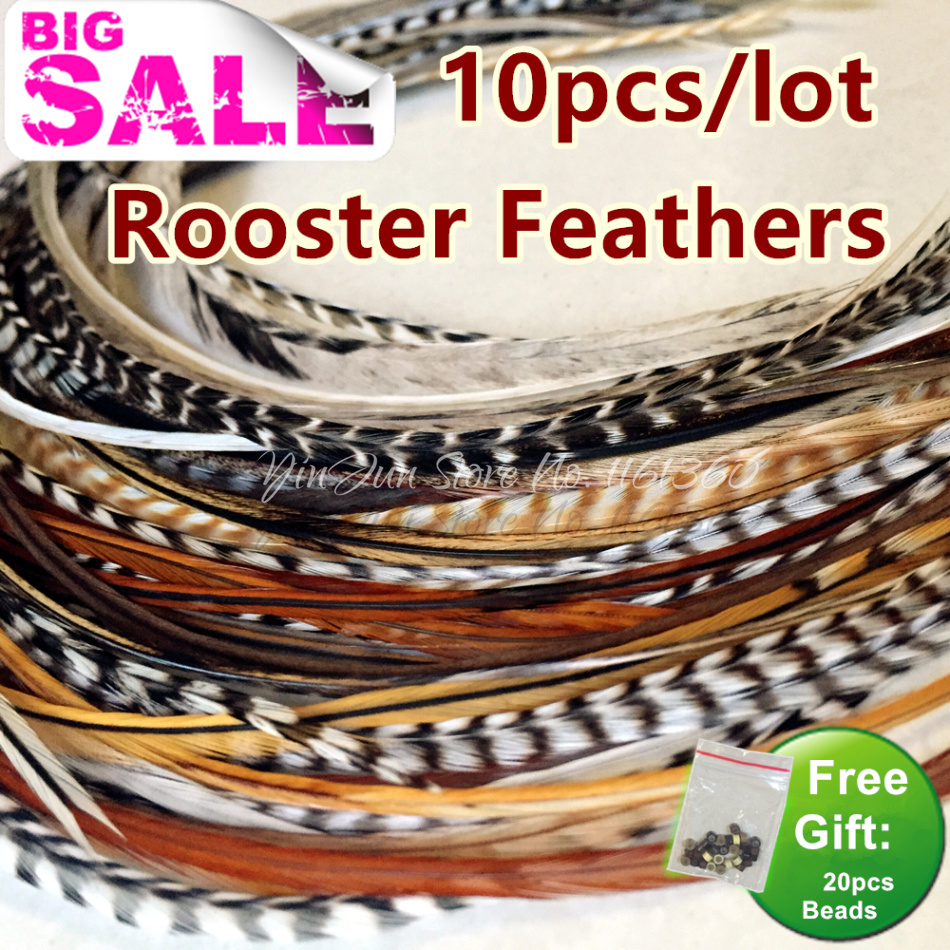 "Bulk Hair Styling 10pcs 6 ""-12"" Grizzly Ombre Hair Feathers Roosterfjädrar Extensions for Hair Accessoarer för Women Hair Clip"