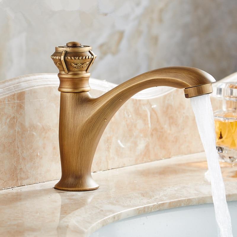 Basin Faucet Single Handle Antique Bronze Brass Faucet Single Cold Sink Faucet Mixer Tap Bathroom Faucet Lavatory Mixer