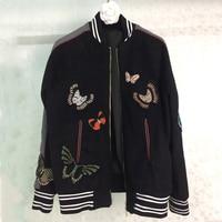 Bomber Jacket Women 2017 Animal Embroidery Jackets Coat Runway Long Sleeve Wool Jackets