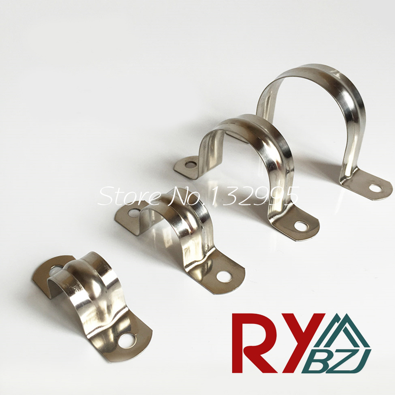 20pcs/lot 5mm-100mm Stainless steel SUS304 saddle clamp, riding clip,pipe clamp,saddle clamp,ohm clamp hoop u-shaped clip 35mm 110mm 304 stainless steel saddle clamp antirust cable clip water pipe fixing bracket clamp