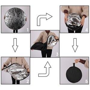 Image 5 - 43 110cm 5 in 1 taşınabilir katlanabilir yuvarlak el ışık reflektörü, flaş aksesuarları fotoğraf stüdyosu için taşıma çantası ile