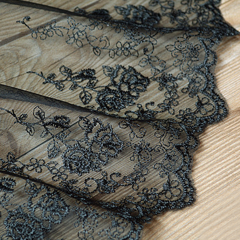 1yd lace trim black rose embroidered black white lace