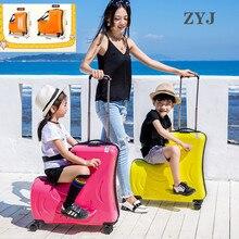 ZYJ Дети езда Trojanl чемодан горячие мальчики девочки Путешествия Тележка сплав дети сидя на колёсиках чемодан Спиннер колеса