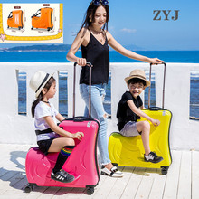 ZYJ Kids Riding Trojanl Luggage Hot Boys Girls Travel Trolley Alloy Children Sitting Rolling Luggage Suitcase Spinner Wheels travel tale 20 24 inches abs pc cartoon lovely rolling luggage customs lock spinner brand travel suitcase