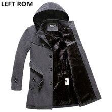 LEFT ROM weight 1.6kg-2.4kg men thickening high-grade warm single breasted trench coat/Men inside Mao Dan long jacket black 4XL