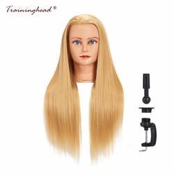 "Traininghead 26-28 ""Blone волосы манекен головы для париков Afican Американский манекен макияж Практика Обучение женский манекен головы"