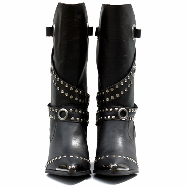 Ayakk.'ten Diz Altı Çizmeler'de Prova Perfetto Avrupa Popüler Kadın Orta Buzağı Çizmeler Perçin Yüksek Topuk Botları Sıcak Kürk Ayakkabı Demir Sivri Burun Boot kadın ayakkabısı'da  Grup 2