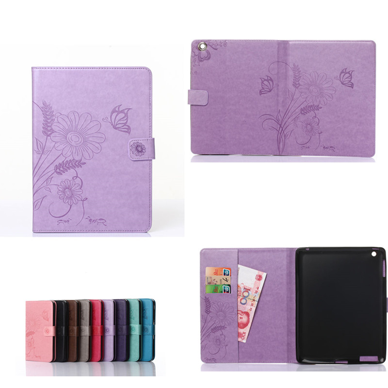 GY Luxury Shockproof PU Leather Case For iPad 2 3 4 9.7 inch Tablet With Soft TPU Back cover For Ipad2 ipad3 ipad4 Flower Style