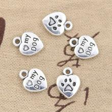 25 pçs encantos coração cão pata 13x10mm pingente feito à mão fazer ajuste, vintage tibetano bronze prata cor, diy para pulseira colar