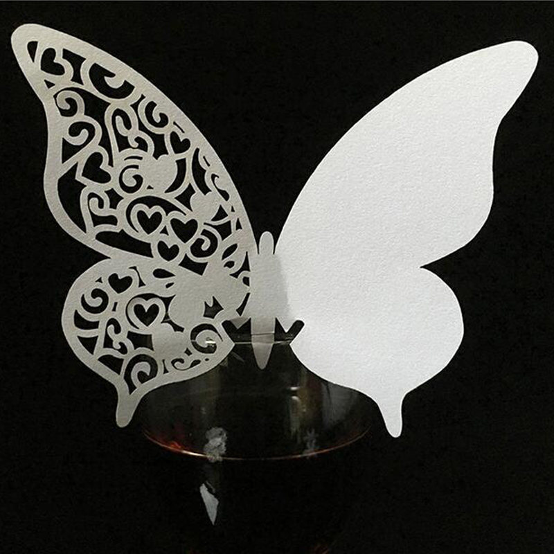 10 Colos 50pcs Butterfly Laser Cut Table Mark Wine Glass Name Place Cards Wedding Birthday Baby Shower Event & Party Supplies (2)