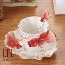 3D Emaille Goldfisch Kaffeetasse Tasse Porzellan Tee Milch Set Kreative Europäische Bone China Drink