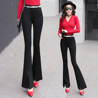 Black Women Lace Patchwork Flare Pants Skinny High Waist Fashion Female Clothing Casual Korea Solid Color Chic Trousers MK0044