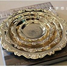 Резной круглый металлический поднос из сплава, тарелка для торта, кондитерских изделий, десертов, фруктов, сахаров, посуда для свадьбы, дома, отеля, украшения посуды SG081