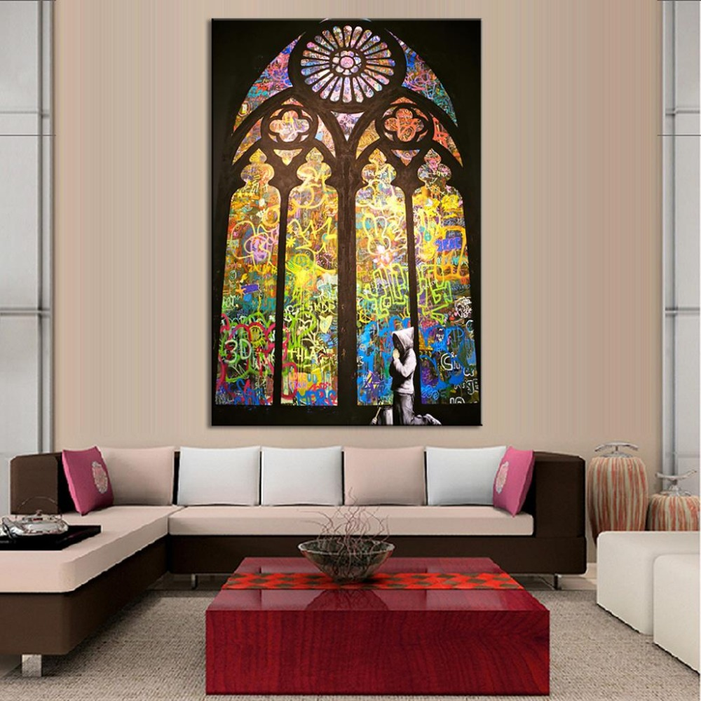 Unframe Canvas HD Prints Banksy Pray In Church Graffiti Street Pop Art Painting For Living Room
