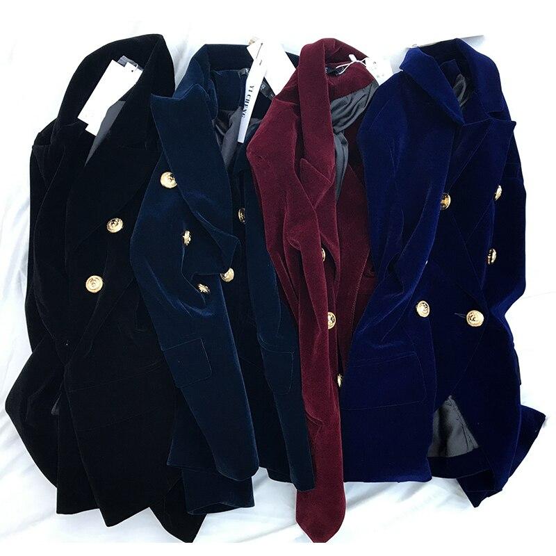 Nouveau Court Automne À Velours dark Paragraphe bleu Et Veste Printemps Casual Royal Blue Noir Manches bourgogne Or Femmes Longues Costume wxIf0qgw7