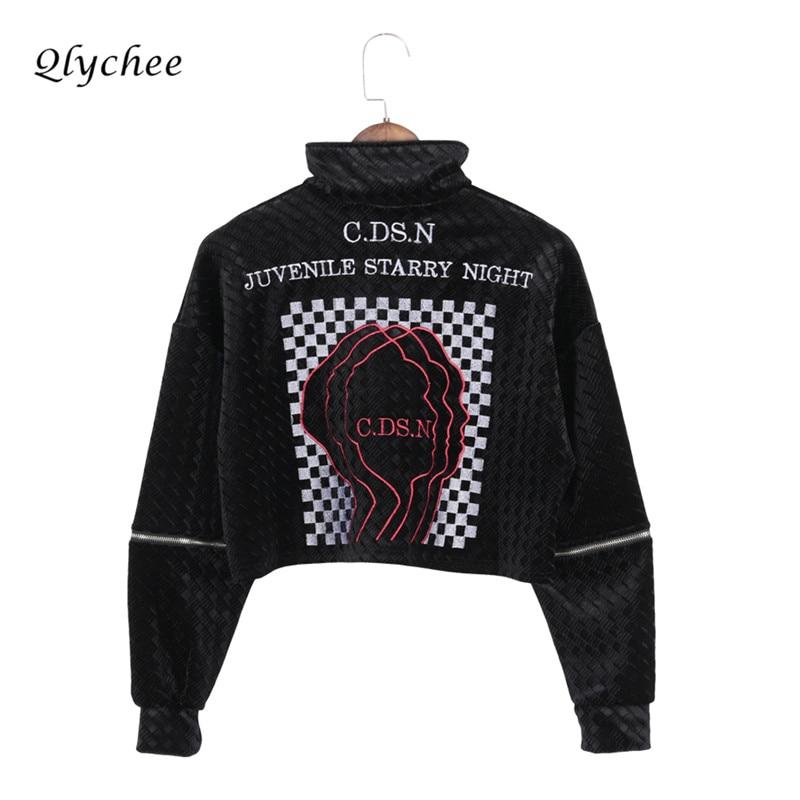 Qlychee Fashion Women Velvet Sweatshirt Zipper Patchwork Long Sleeve Letter Plaid Print Pullover Hoodies Street Short Sweatshirt