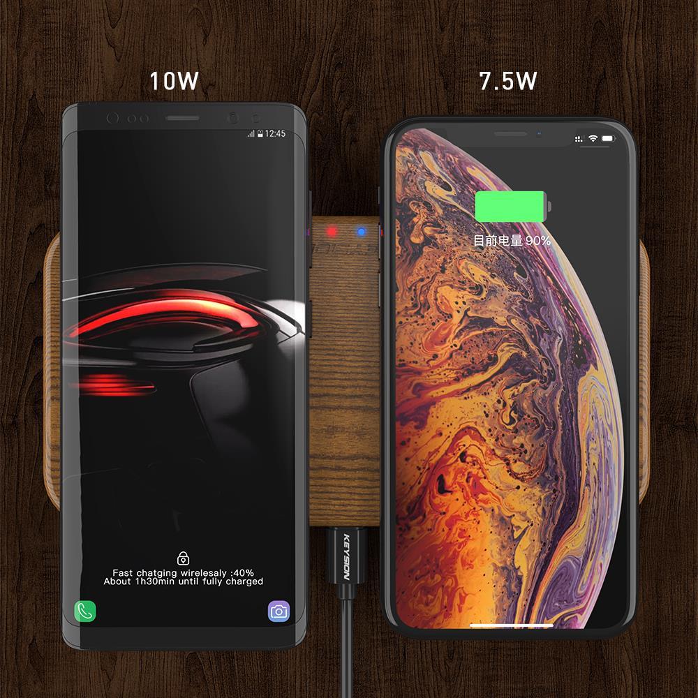 KEYSION double chargeur sans fil 5 bobines Qi chargeur rapide Compatible pour iPhone 11 Pro XS Max Samsung S10 S9 AirPods Xiaomi Mi9 - 2
