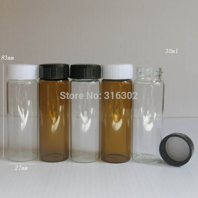 24pcs/lot 30ml Amber Clear Screw Neck Glass Bottle With Plasstic Cap 30ml Glass Vials 1oz Glass Container