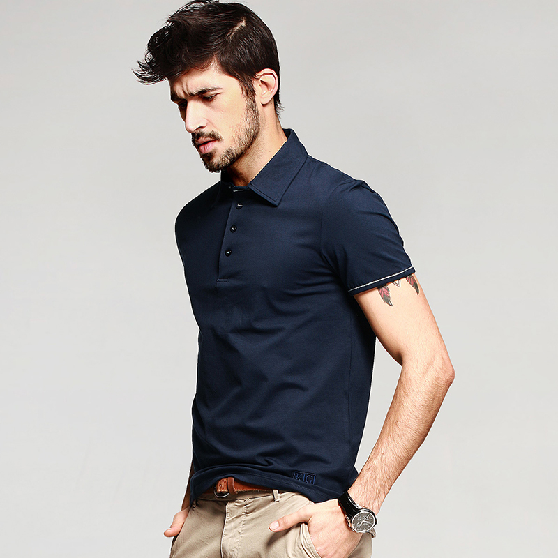 KUEGOU Men Polo Shirts Short Sleeve Cotton Patchwork Summer Casual Sport T-shirt