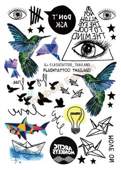 A6080-209 Big Black tatuagem Taty Body Art Temporary Tattoo Stickers Gradient Colorful Birds Eye Shark Glitter Tatoo Sticker