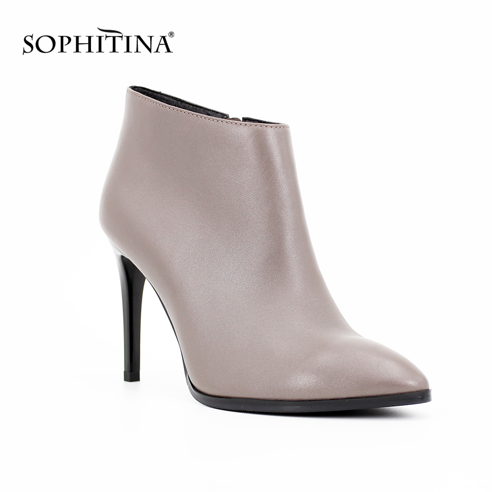 SOPHITINA Brand boots Thin High Heel Sexy Pointed Toe Sheepskin Ankle Boots Zipper Gray Genuine Leather Pretty Women Shoes B18