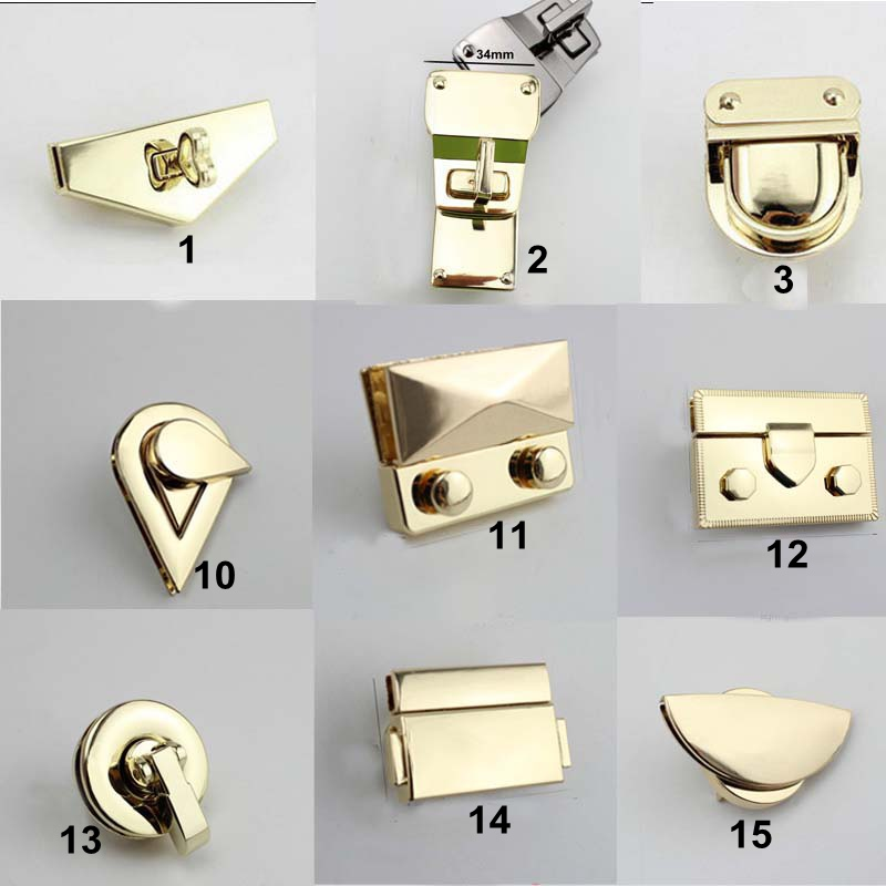 5sets /lot Lock Button Accessories Tone Trunk Lock For Bag Replacement Handbag Bag DIY Accessories Purse Snap Clasps Closure