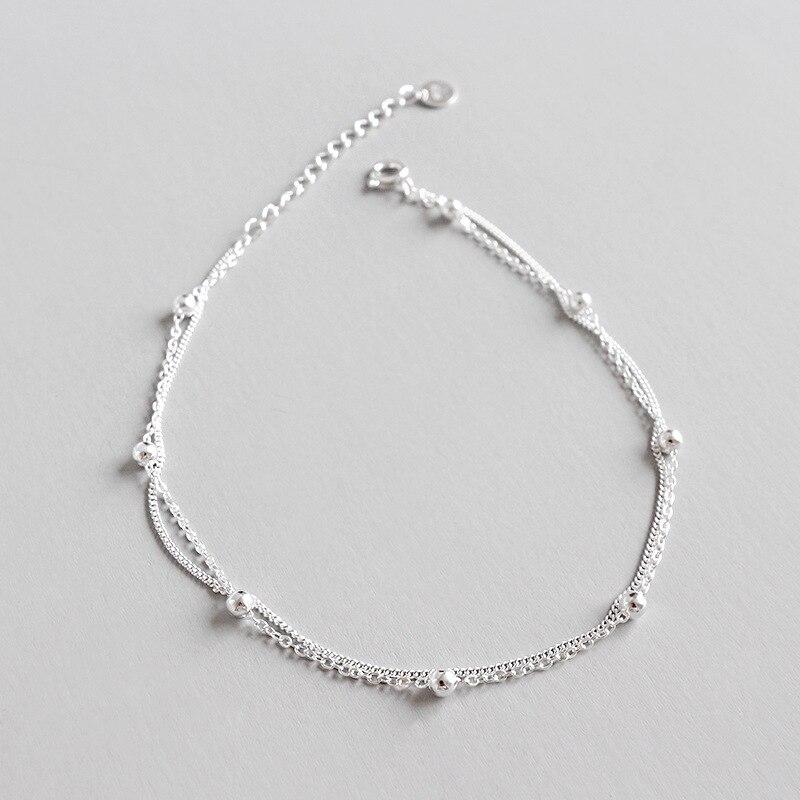 Real 925 Sterling Silver Anklet For Women 2020 Round Beads Double Chain Anklet Foot Bracelet tobilleras de plata de ley 925
