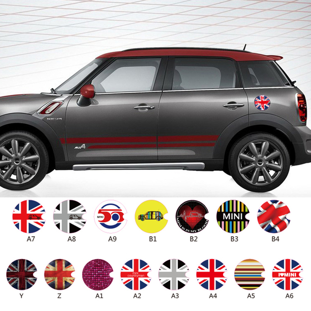 Car accessories fuel tank cap sticker oil tank decals for mini cooper countryman r50 r52 r53